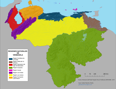Map of Natural regions of Venezuela Mapa de regiones naturales (Venezuela).png
