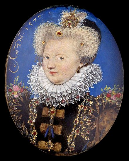 Queen Margaret of Navarre, by Nicholas Hilliard (1577) Marguerite of Valois, Queen of Navarre) by Nicholas Hilliard.jpg