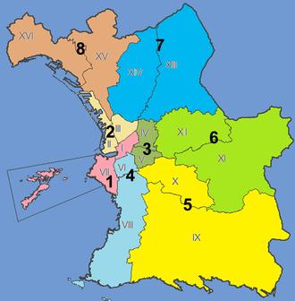 Arrondissements of Marseille - The sixteen arrondissements and eight sectors of Marseille