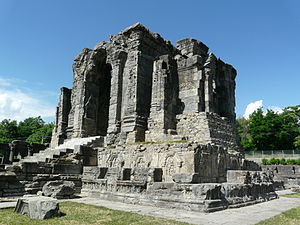 History of Kashmir - Martand Sun Temple Central shrine, dedicated to the deity Surya. The temple complex was built by the third ruler of the Karkota dynasty, Lalitaditya Muktapida, in the 8th century CE. It is one of the largest temple complex on the Indian Subcontinent.