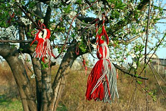 Martenitsa - Martenitsi tied to a blossoming tree, a symbol of approaching spring