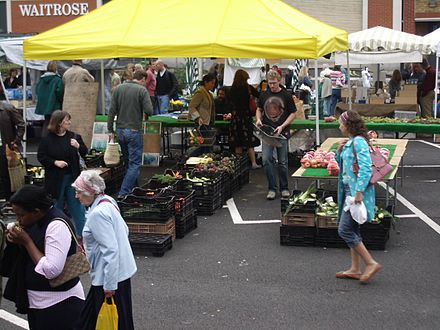 The Marylebone farmers' market in London, United Kingdom. Marylebone Farmers Market 2005.jpg