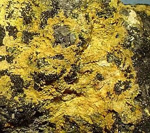 Massicot - Massicot from the Monte Cristo mine, Goodsprings District, Clark County, Nevada (size: 5.0 x 4.0 x 4.0 cm)