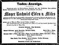 Mayer Rachmiel von Mises death notice, 1891.jpg