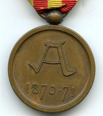 1870–71 Commemorative Medal - Image: Medaille Commemorative 1870 71 Belgique revers