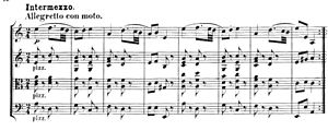 Part (music) - A score with four parts, for Mendelssohn's opus 13 string quartet.