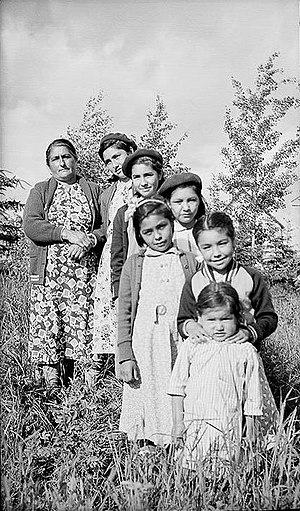 Cree - Merasty women and girls - Cree - The Pas Manitoba 1942