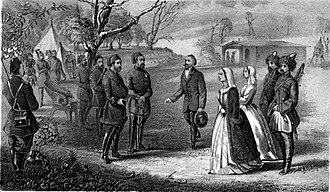 Mingrelians - Mingrelian lady (right) negotiating with the invading Turks, 1856. An episode of the Crimean War.