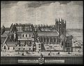 Merton College, Oxford; bird's eye view with key. Line engra Wellcome V0014129.jpg