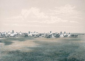 Métis buffalo hunt - Métis hunting camp in 1873 in the Three Buttes and Milk River Lake, Alberta region (lithograph)