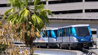 Miami-Dade Transit - a Metromover double-unit train in Arts & Entertainment District (2012)