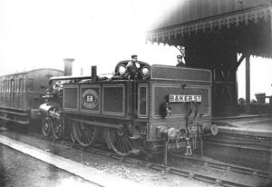 Metropolitan Railway A Class - Metropolitan B Class No. 58 at West Hampstead station, destination 'BAKER ST', 1897