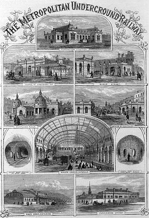 "An engraving, titled at the top ""The Metropolitan Underground Railway"", showing a montage of outside views of the railway stations with people shown in Victorian dress and travelling on foot or by horse. In the centre is an interior view of the original King's Cross station."