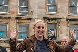 Mhairi Black - Black at the Campaign for Nuclear Disarmament protest in Paisley Cross, 2016