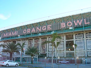 Miami Hurricanes - The Miami Orange Bowl was the home field for Miami Hurricanes football until its 2008 demolition. Since then, the Hurricanes have played at Hard Rock Stadium in Miami Gardens.