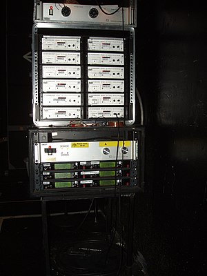 A2 (theater) - The A2's job may include monitoring a microphone receiver rack such as the one pictured.
