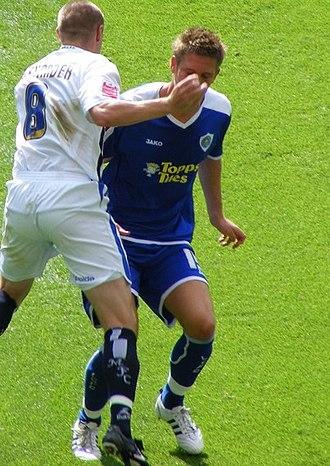 Gary Alexander (footballer) - Alexander vs Michael Morrison of Leicester City on 13 September 2008.