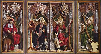 Michael Pacher - Jerome, Augustine, Gregory, and Ambrose, from the Altarpiece of the Church Fathers (1483–84), Alte Pinakothek, Munich