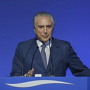 Impeachment proposals against Michel Temer - Michel Temer speaking at the Bandeirantes Palace on Dec. 9, 2013.