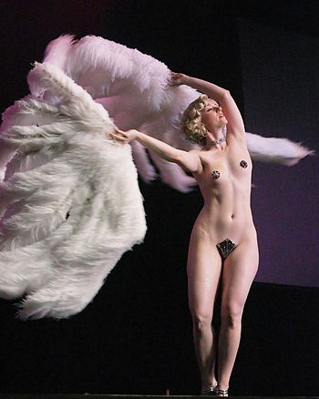 Fan dance, a form of strip-tease