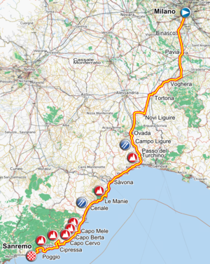 Route of the 2012 Milan–San Remo