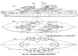 South American dreadnought race - Plans of the Minas Geraes class, showing the armor values (fig. 1) and the theoretically possible radii of the main and secondary batteries (fig. 2 and 3).