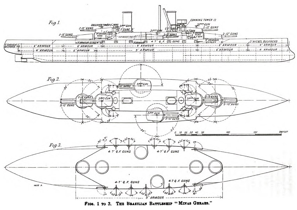 Minas Geraes-class battleship drawings