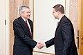 Ministru prezidents Valdis Dombrovskis tiekas ar Vācijas vēstnieku Latvijā Dr. Klausu Burkhardu (7452787374).jpg