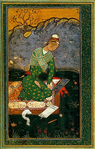 Mir Sayyid Ali - Portrait of a young writer by Mir Sayyid Ali, Los Angeles County Museum of Art, 1550