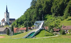 Mirna (settlement) - The ski jumping hill in Mirna