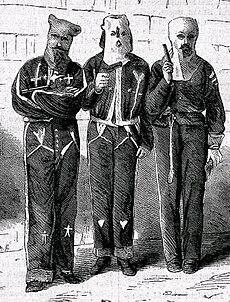 Miembros del Ku Klux Klan arrestados en en septiembre de 1871, por el intento de asesinato de una familia.