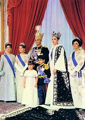 Farah Pahlavi - Imperial Coronation of the Shah of Iran in 1967, some twenty-six years after he had come to the Throne. Princess Ashraf, Princess Shahnaz, the Shah, Princess Farahnaz and Crown Prince Reza, Queen Farah and Princess Shams.