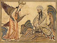 "Mohammed receiving his first revelation from the angel Gabriel. Miniature illustration on vellum from the book Jami' al-Tawarikh (literally ""Compendium of Chronicles"" but often referred to as The Universal History or History of the World), by Rashid al-Din, published in Tabriz, Persia, 1307 CE Now in the collection of the Edinburgh University Library, Scotland."