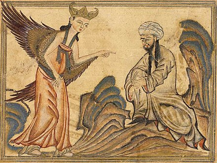 Muhammad receiving his first revelation from the angel Gabriel. From the manuscript Jami' al-tawarikh by Rashid-al-Din Hamadani, 1307, Ilkhanate period. Mohammed receiving revelation from the angel Gabriel.jpg