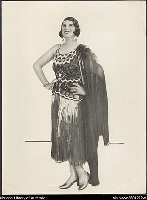 Rio Rita (musical) - Gladys Moncrieff wearing the Montezuma dress used in Rio Rita, St. James Theatre, Sydney, 1928