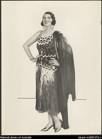 Rio Rita (musical) - Gladys Moncrieff wearing the Montezuma dress used in Rio Rita, St. James Theatre, Sydney, 1928