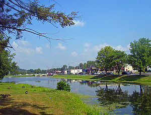 Monroe (village), New York - Downtown Monroe, with mill pond and park in foreground