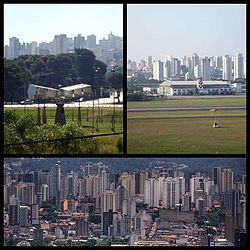 Skyscraper of the district. Top left:A display of 14-Bis aircraft monument in Campo de Bagatello Park, Top right:Campo de Marte Airport, Bottom:View of Downtown Santana