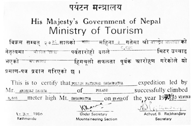 Mount Everest winter 1980 cert