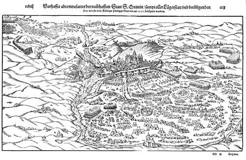 Vista de la toma de San Quintín en 1557