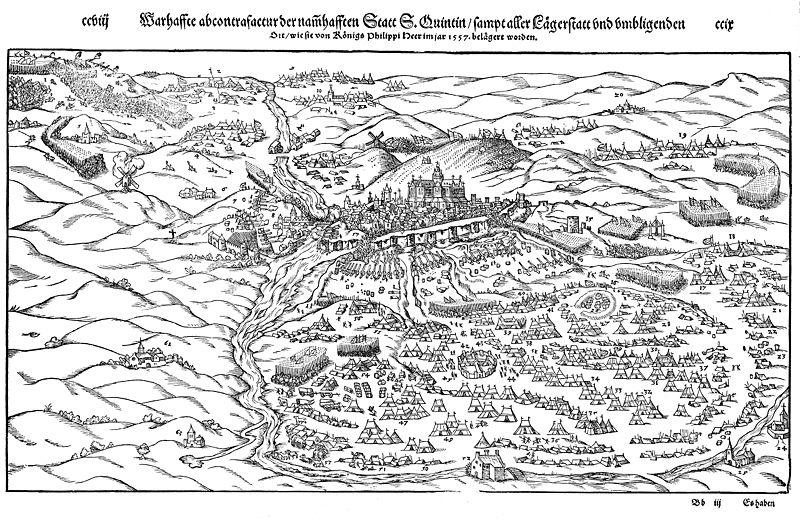 Vista de la toma de San Quintín en 1557.