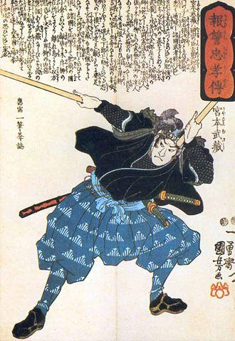 Miyamoto Musashi - Miyamoto Musashi in his prime, wielding two bokken. Woodblock print by Utagawa Kuniyoshi.