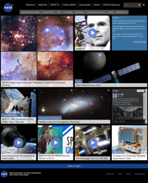 Website - NASA.gov homepage as it appeared in April 2015