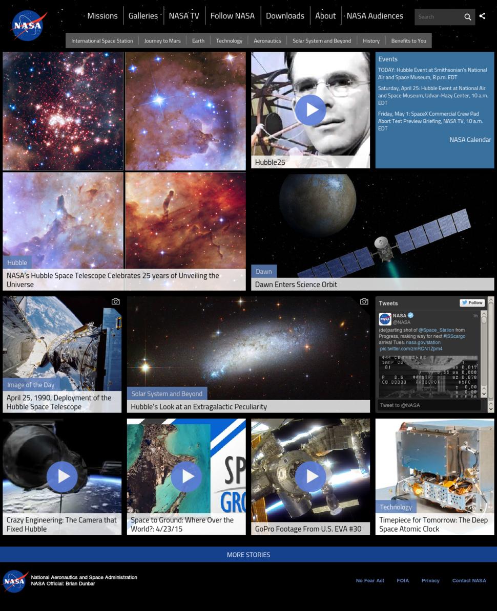 NASA Website Homepage - April 25, 2015