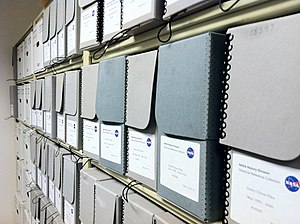Archival science - Archival boxes at the NASA archives.