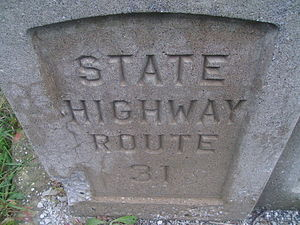New Jersey Route 94 - Old SHR 31 indentation on a bridge in Hamburg