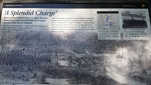 Second Battle of Petersburg - National Park Service Marker depicting the capture of Batteries 8-10
