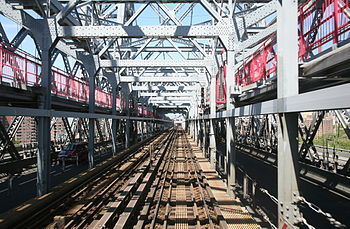 Subway tracks on the Williamsburg Bridge in Ne...