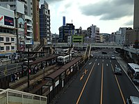 Nagasaki-Ekimae Station and Japan National Route 202 from north side.JPG