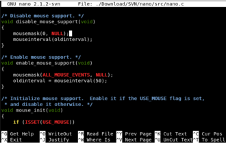 GNU nano - A screenshot of GNU nano 2.1.2